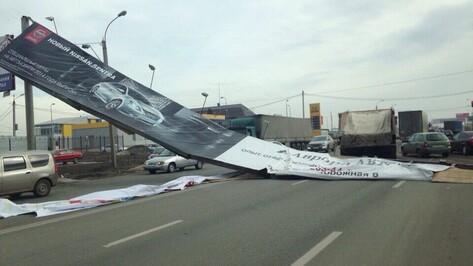 В Воронеже упавший баннер перекрыл улицу Остужева