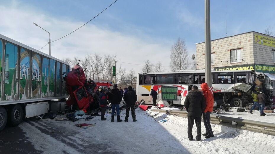 В Воронежской области 2 человека погибли в аварии с грузовиком и пассажирским автобусом