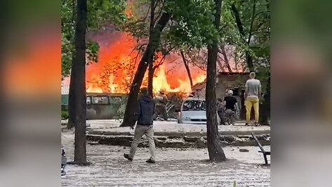 Воронежцы сняли на видео горящие сараи на проспекте Труда