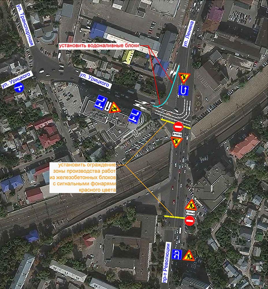 Пересечение улиц Урицкого и Ленина