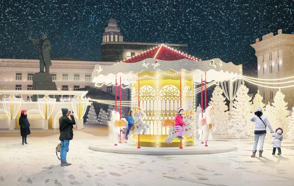 Украшение площади Ленина к Новому году