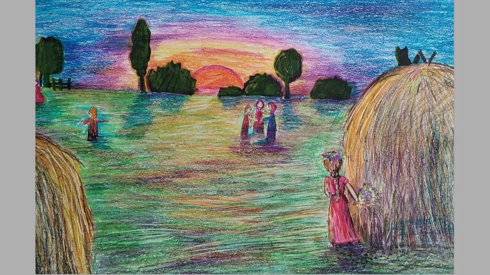 Рисунок Марии Сапроновой«На вечерней зорьке»