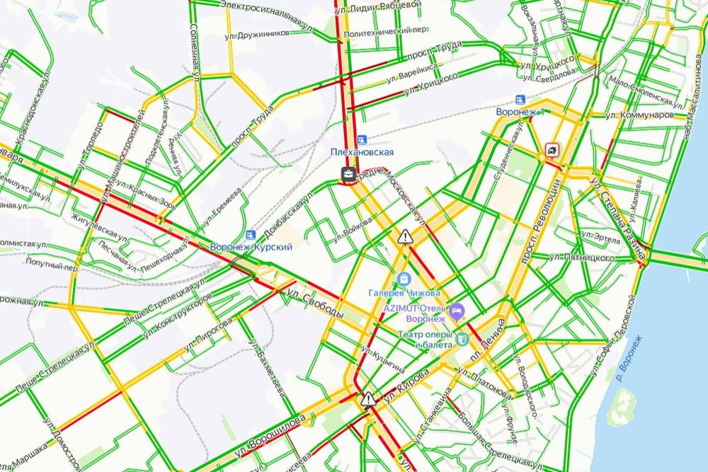 Дорожная ситуация в Воронеже согласно Яндекс.Картам