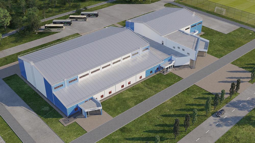 Здания спорткомплекса и бассейна будут связаны переходом на первом этаже