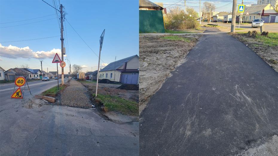 Тротуар на улице Свердлова: до работ и после