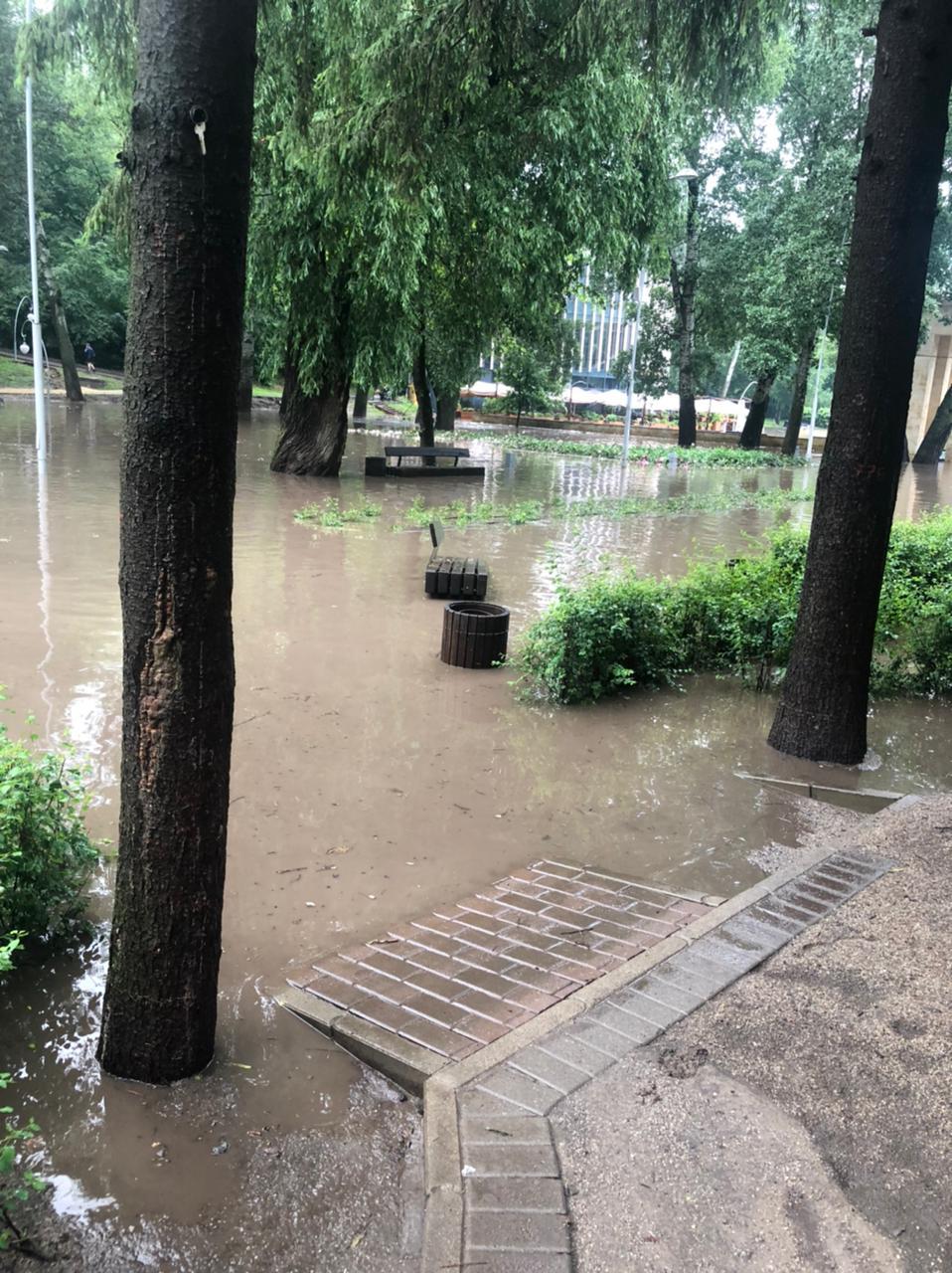Потоп в Центральном парке Воронежа после ливня