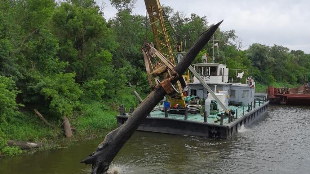Плавкран очистил реку от затонувших деревьев в районе села Щучье, где застряла баржа
