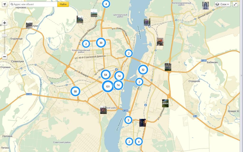 Воронеж: вакансии в известных магазинах на карте