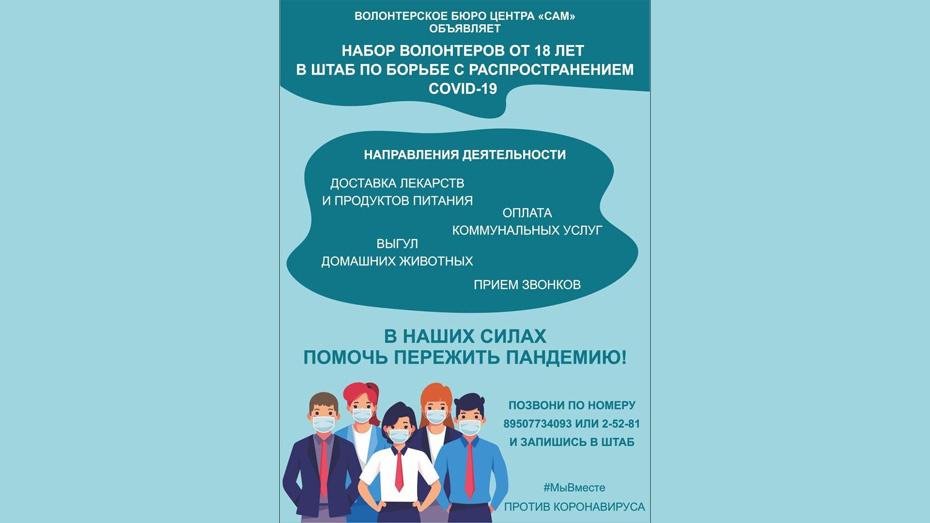 В Борисоглебске объявили поиск волонтеров для оказания помощи самоизолированным пожилым людям