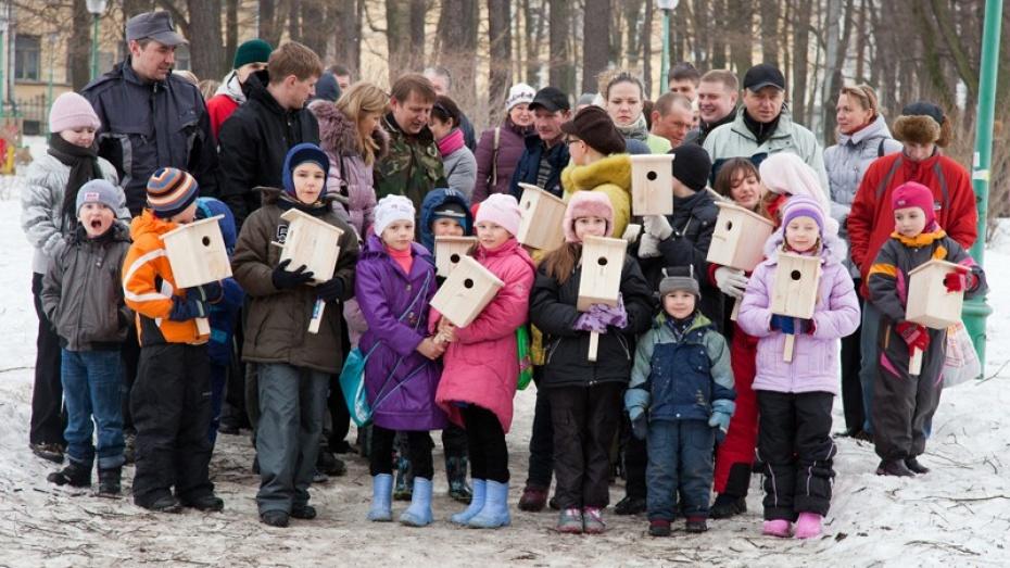 Сегодня в воронежском парке «Южный» повесили полсотни скворечников