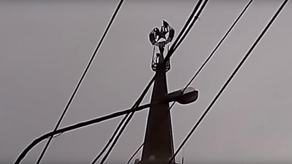 В Воронеже 2 экстремала устроили фотосессию со звездой на шпиле здания