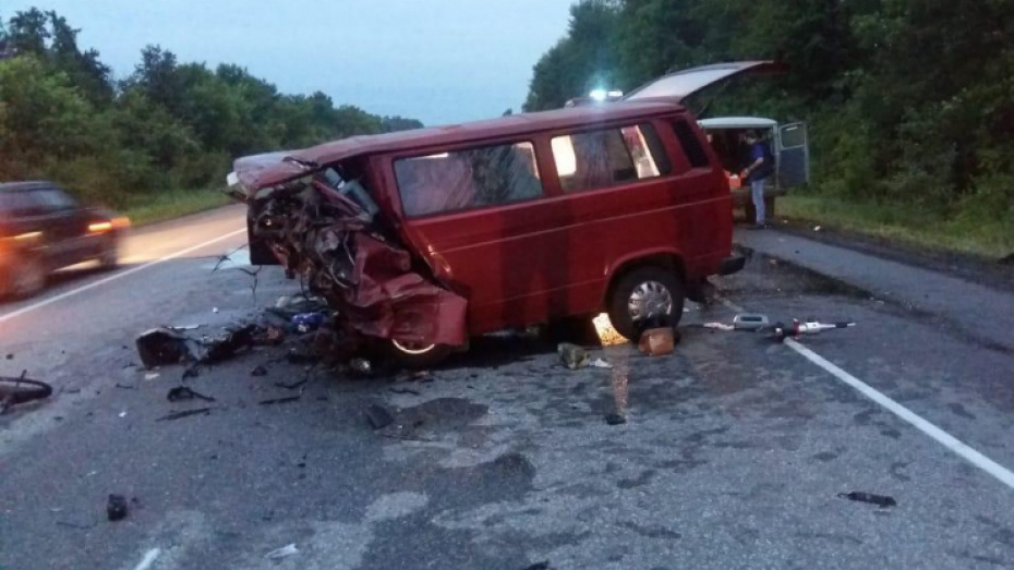 5610068a633e0 На воронежской трассе столкнулись легковушка и микроавтобус: 7 погибших, 2  пострадавших
