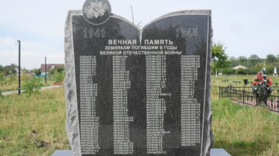В лискинском селе Коломыцево установили мемориал погибшим в ВОВ землякам