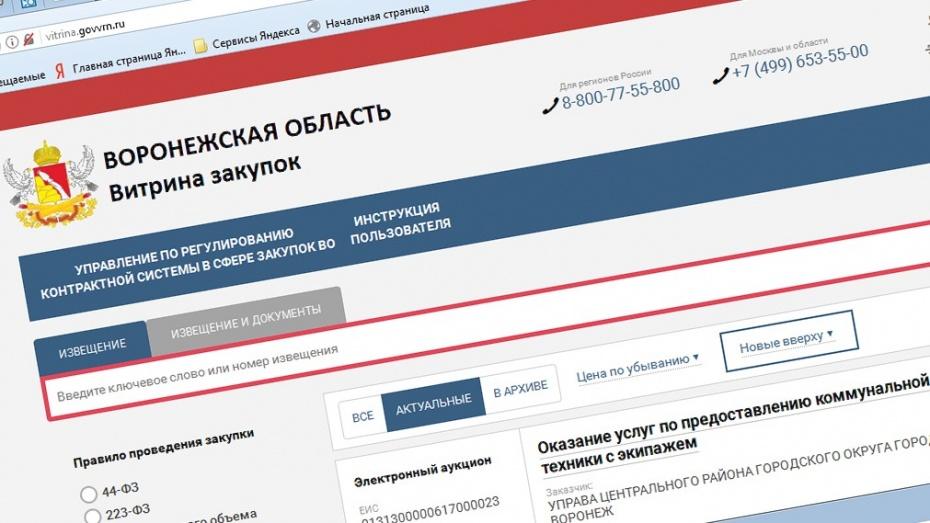 Объявленные в Воронежской области аукционы выставили на «Витрине закупок»