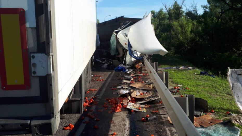 На трассе в Воронежской области  столкнулись 3 фуры: двое погибших