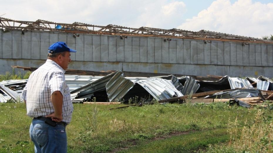 В Аннинском районе ураган сорвал крышу с ангара