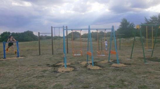 В грибановском селе Малые Алабухи 2-е активисты установили уличные тренажеры
