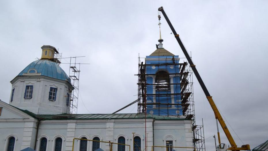 В воробьевском селе Новотолучеево на 200-летнем храме установили купола и кресты