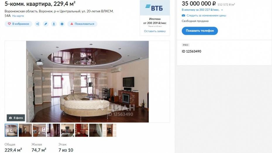 Самую дорогую воронежскую квартиру выставили на продажу за 35 млн рублей