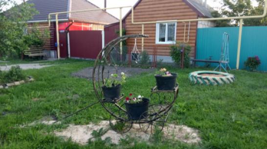 В репьевском селе Истобное вдоль трассы установили 9 цветочных композиций