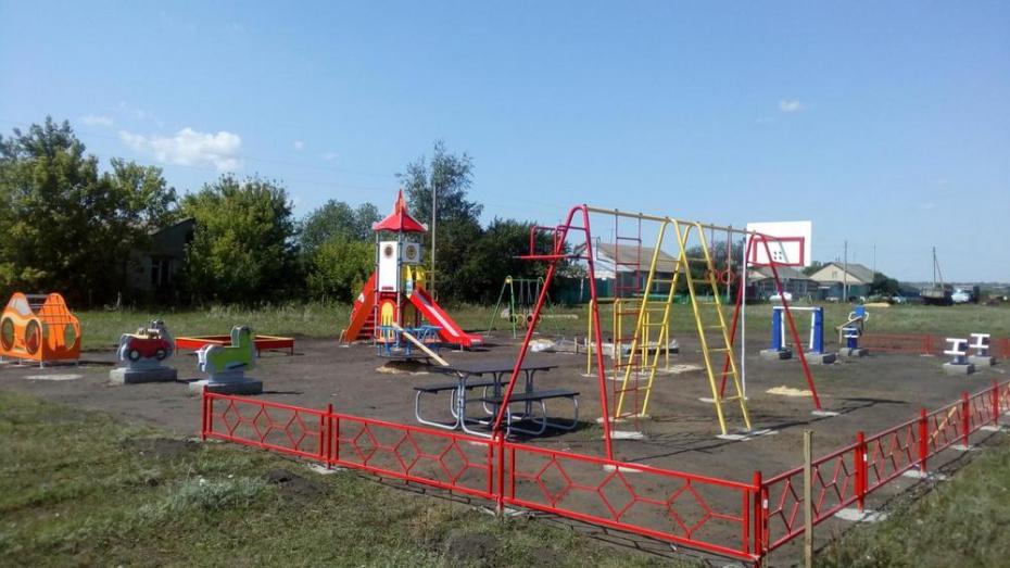 В грибановском селе Поляна сделали детскую площадку и спортивный комплекс