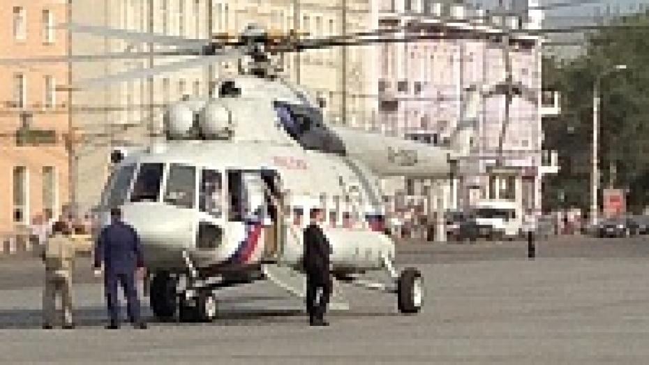 Владимир Путин прибыл в центр Воронежа на вертолете