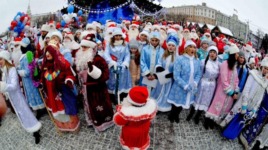 Дед Мороз с упряжкой хаски и чукотская Снегурочка. Как прошел новогодний парад в Воронеже