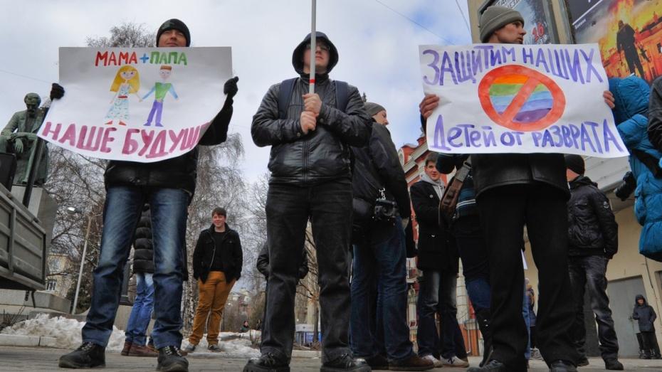 В Воронеже прошел митинг против пропаганды гомосексуализма и педофилии